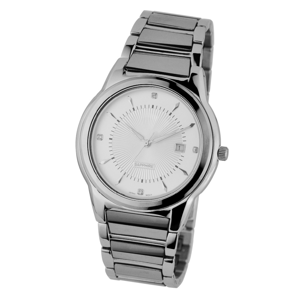 Round dial stainless steel sapphire glass watch men