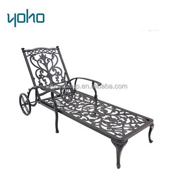 Outdoor Sun Lounger Chair Garden Cast Aluminum Chaise Lounge Chair  Furniture Metal Aluminum Sun Lounger