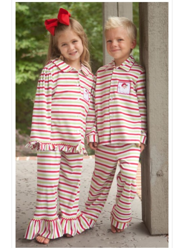 2014boutique Children Christmas Pajamas Kids Girl Striped Ruffled ...