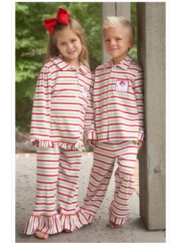 deb73be7c 2014boutique Children Christmas Pajamas Kids Girl Striped Ruffled ...