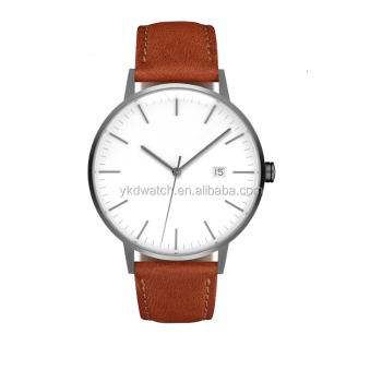 2017 most popular minimalist style slim genuine leather strap watches men