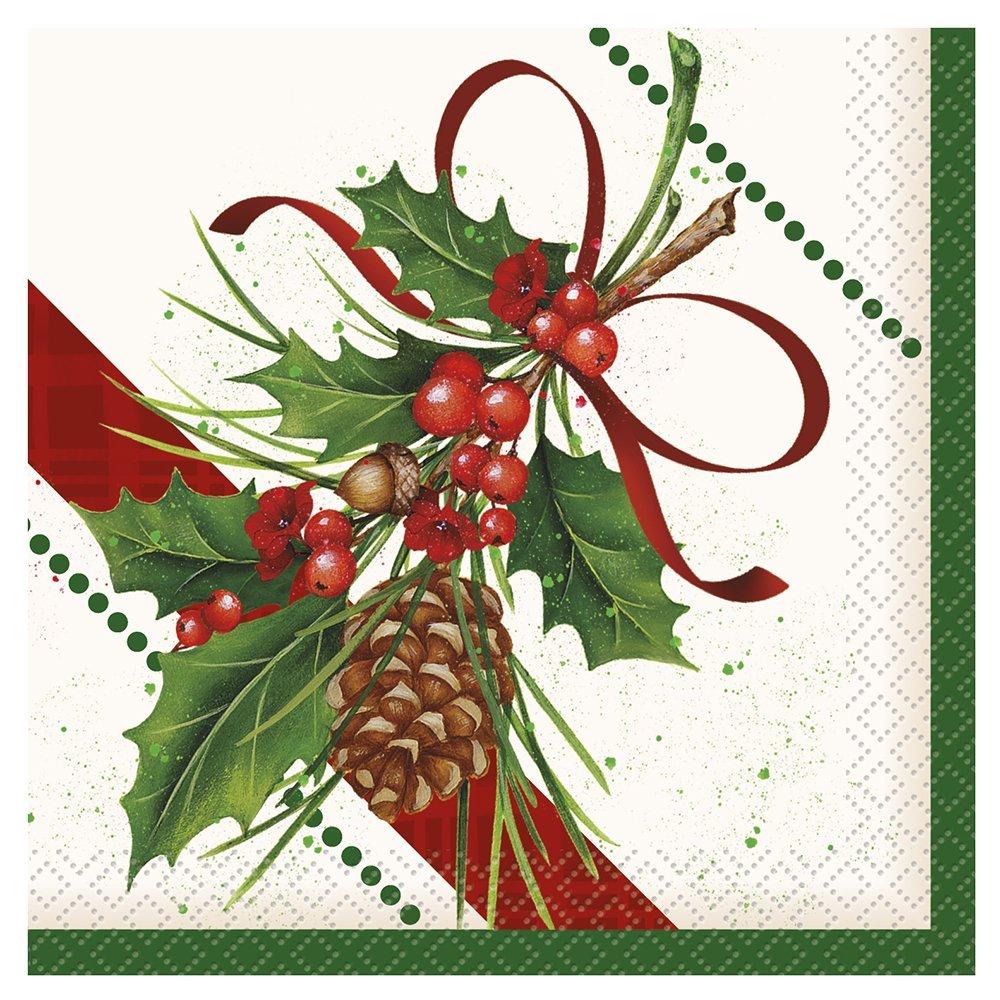 Holly Sprig Holiday Beverage Napkins, 24ct