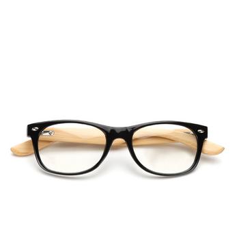 3214870642 Wood Bamboo Black Frame Sunglasses Clear Lenses Retro Classic Square