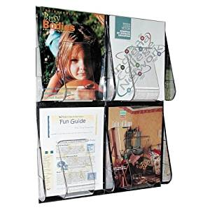 "Wholesale CASE of 2 - Deflect-O 4-Pocket Clear Literature Rack-Magazine Wall Rack,4 Pocket,18-1/4""x2-7/8""x23-1/2"",Clear"