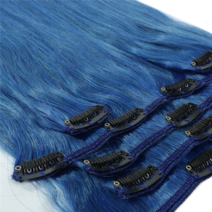 TD blue color human virgin hair cuticle aligned human hair clip in extensions