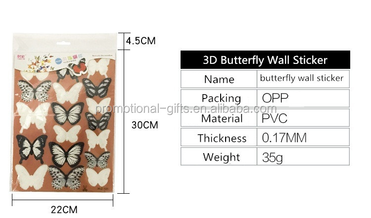 DIY 3D Wall Sticker PVC Removable 3D Butterfly Wall Sticker
