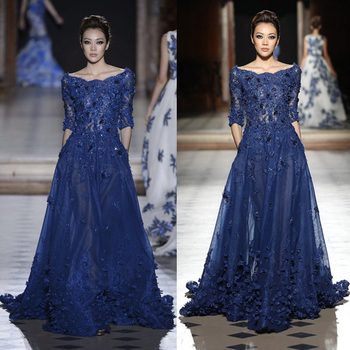 49009dd78657 2016 long Sleeves Blue Wedding Dresses Evening dress Gowns best dress for  farewell party