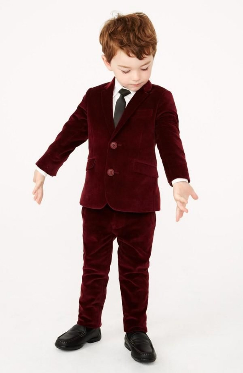 Custom Made Winter Burgundy Red Tuexdo Suit Kids Boys Wedding Clothes Jongen Pak Bruiloft Boys Prom Suits Boys Formal Clothing