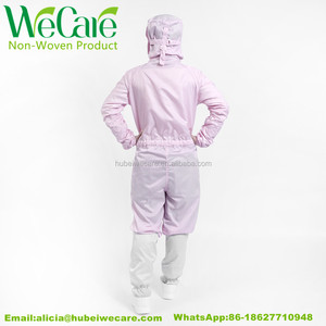 2017 fashion design pink ESD cleanroom coverall overall