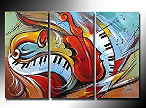 Ode-Rin Art Christmas Gift 100% Hand Painted on Canvas Abstract Creative Musical Instrument Paintings Wall Art Oil Painting 3-pieces Artwork for Living Room Home and Wall Decoration