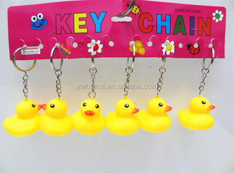promotional cute yellow rubber duck plastic yellow duck key chain wholesale 131e1bbdb359