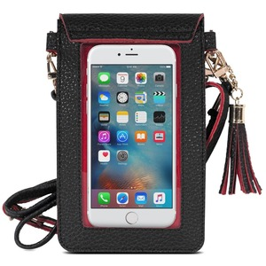 PU Leather Crossbody cell phone Bag Mini Phone Pouch with Shoulder Strap