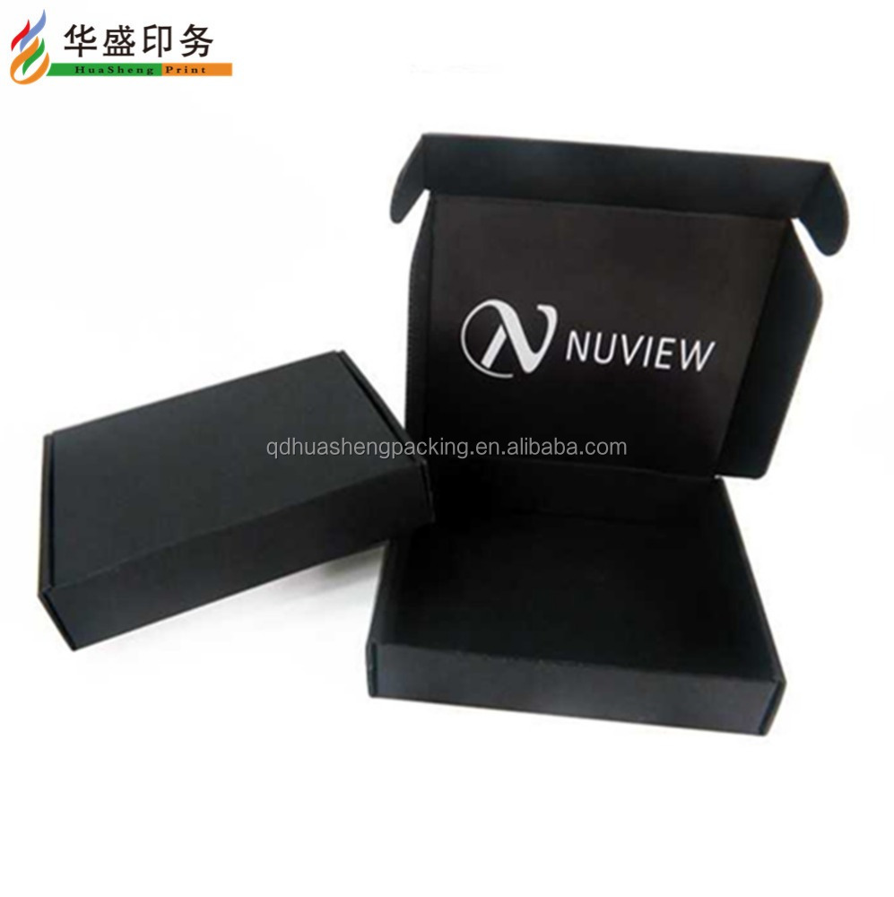 Corrugated box/Matt black foldable packaging shipping boxes with handle