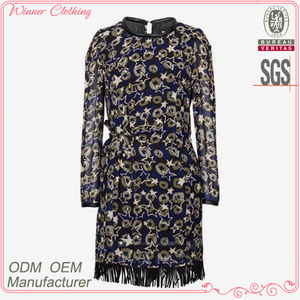 Ladies casual wear women's clothing garment apparel direct factory OEM/ODM manufacturing printed dress pattern with long sleeve