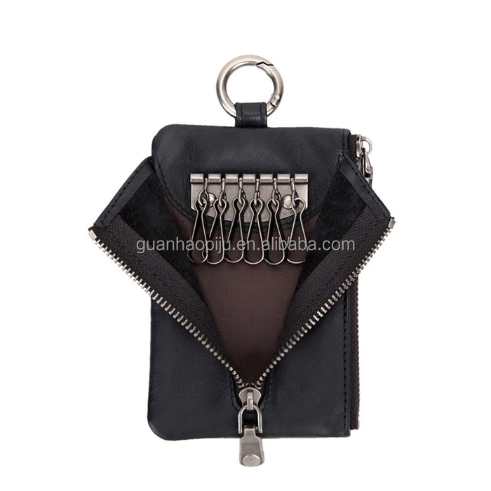 High Quality Genuine Leather Key Bag With Zipped Coin Pocket