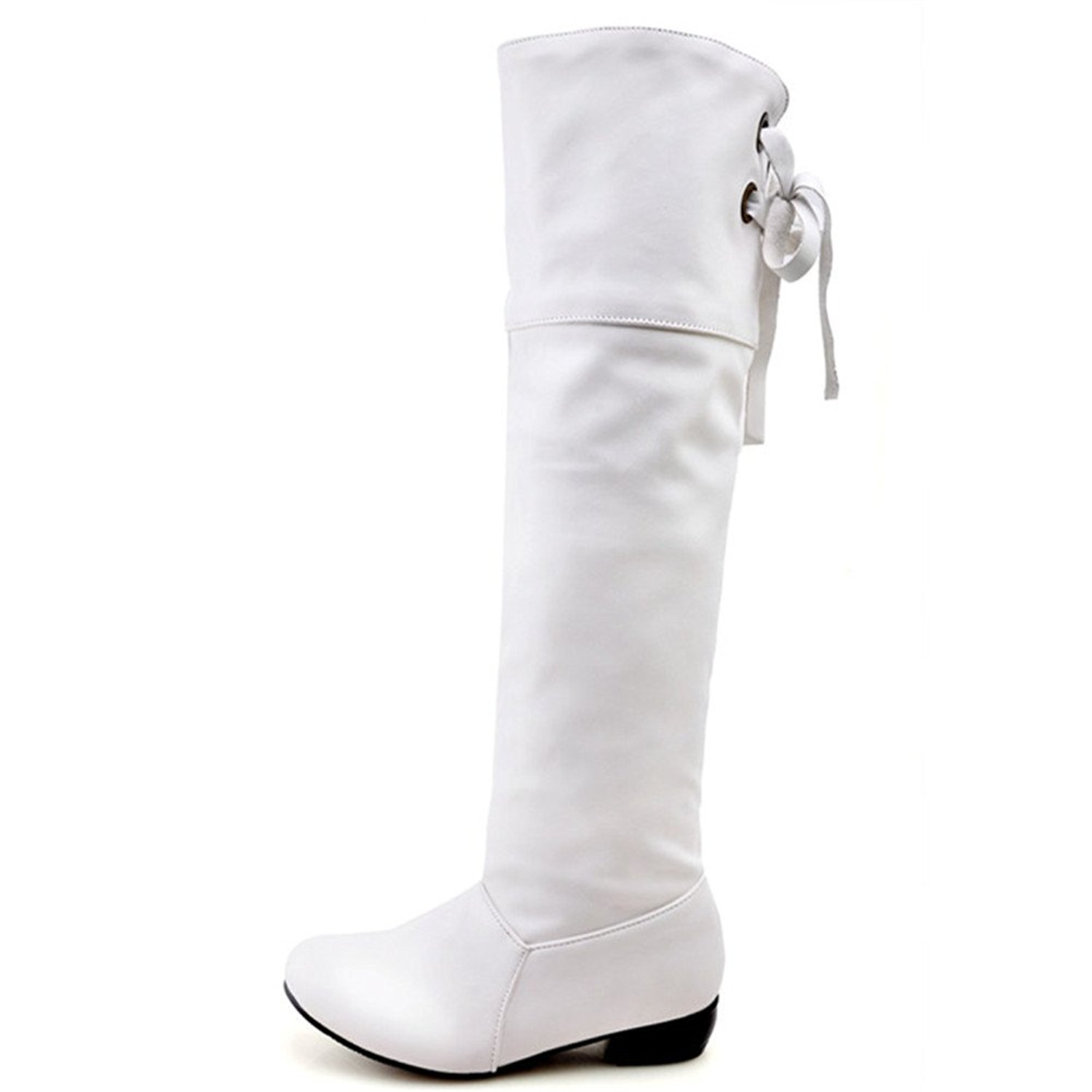 86b08e085a9 Get Quotations · Fashion Heel Women's Chunky Heel Round Toe Lace Up Knee  High Riding Boot