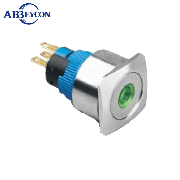 22324F 12V Dot led stainless steel 250V switch 22mm <strong>flat</strong> and square head momentary electrical push button switch