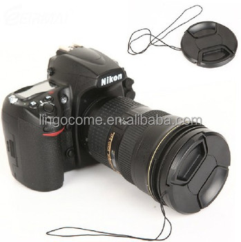 62mm Center Pinch Snap On Front Lens Cap Cover For Canon Nikon With String