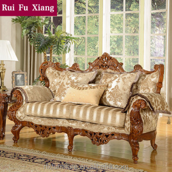 Amazing American Style Luxury Solid Wood Frame Fabric Sofa Set With Hand Carved  Pattern N