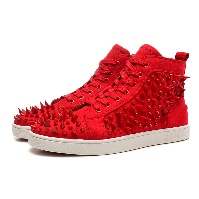 pretty nice 00be5 f9d42 Buy Men Spike Shoes Lace up Hightops Shoes Red Bottoms with ...