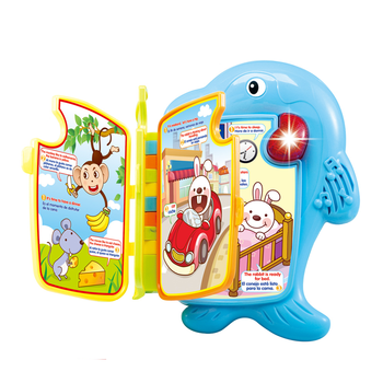 Wholesale baby electric dolphin learning book toy English and Spanish language with light and music
