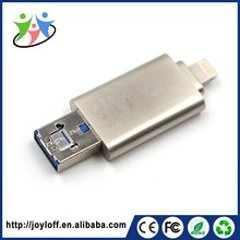 Custom logo 3 in 1 128gb promotional bulk mini otg usb flash drive for iphone