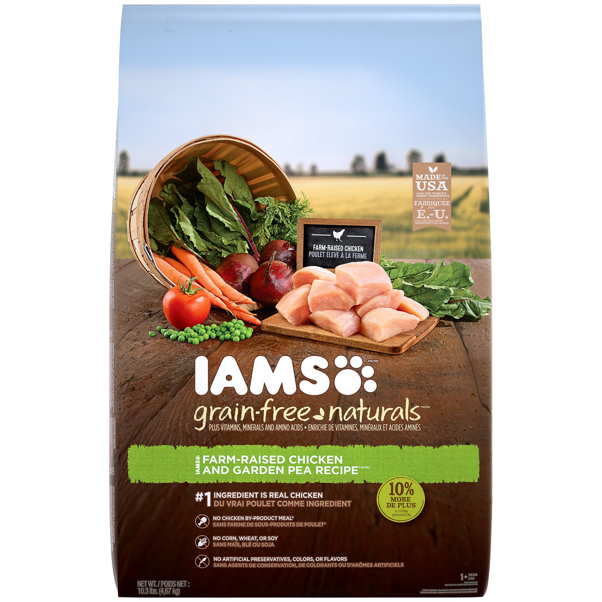 IAMS GRAIN-FREE NATURALS Adult Chicken and Pea Recipe Dry Dog Food 10.3 Pounds (Discontinued by Manufacturer)