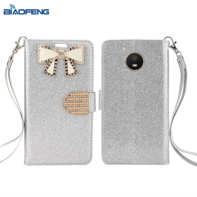 Premium Diamond Butterfly Cash Compartment Card Slot PU Leather Phone Case For Motorola E4/ Moto E 4th Gen/ XT1768 USA Version