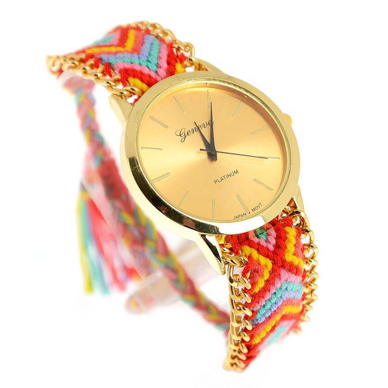Handmade Braided Rope Friendship Bracelet Watch Geneva Watch Fashion Casual Women Bohemia Thread Quartz Wristwatch Relojes Mujer