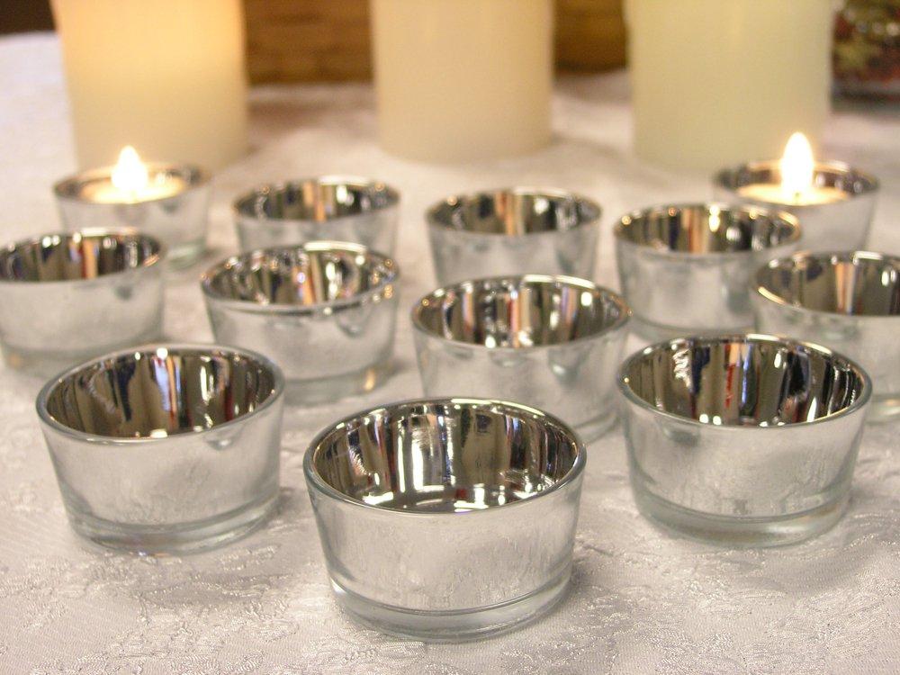 Buy Silver Glass Tea Light Candle Holders Set Of 24 Metallic
