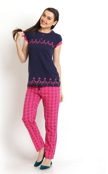 2015 OEM Ladies Printed Pajama T-Shirt   Lounge Pants Knit Loungewear Set    Pajama db821aae8
