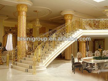 Bisini Luxury Golden Stair Staircase House Steel Staircase