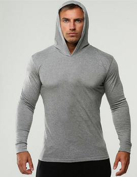 High quality plain grey long sleeve men gym workout hoodie