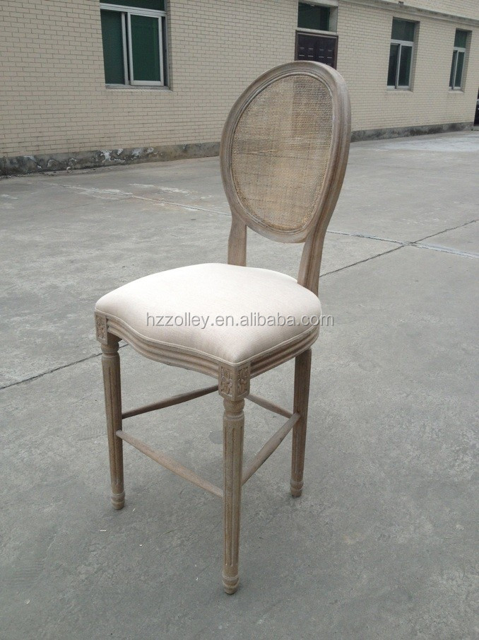 China supplier Hot sale upholstery fabric wooden bar stool, round wooden designer barstool
