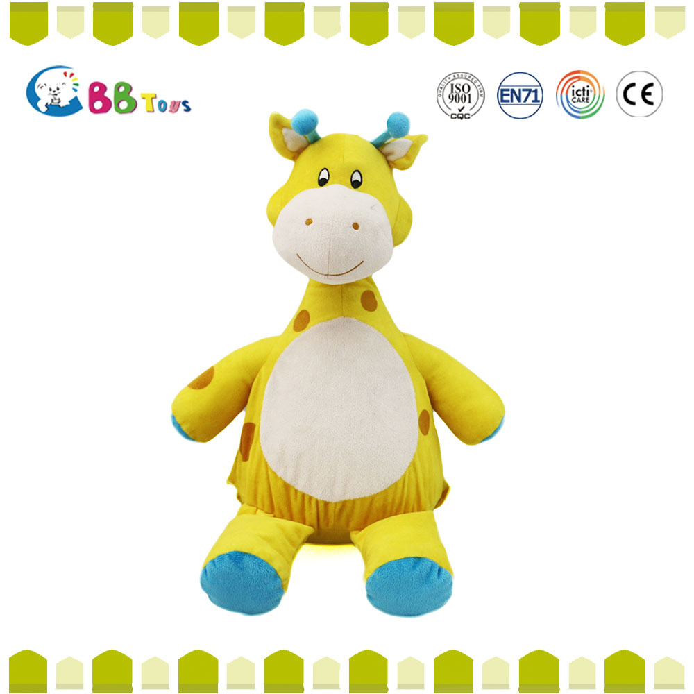 ICTI Interesting high quality plush toys for sales.Yellow giraffe