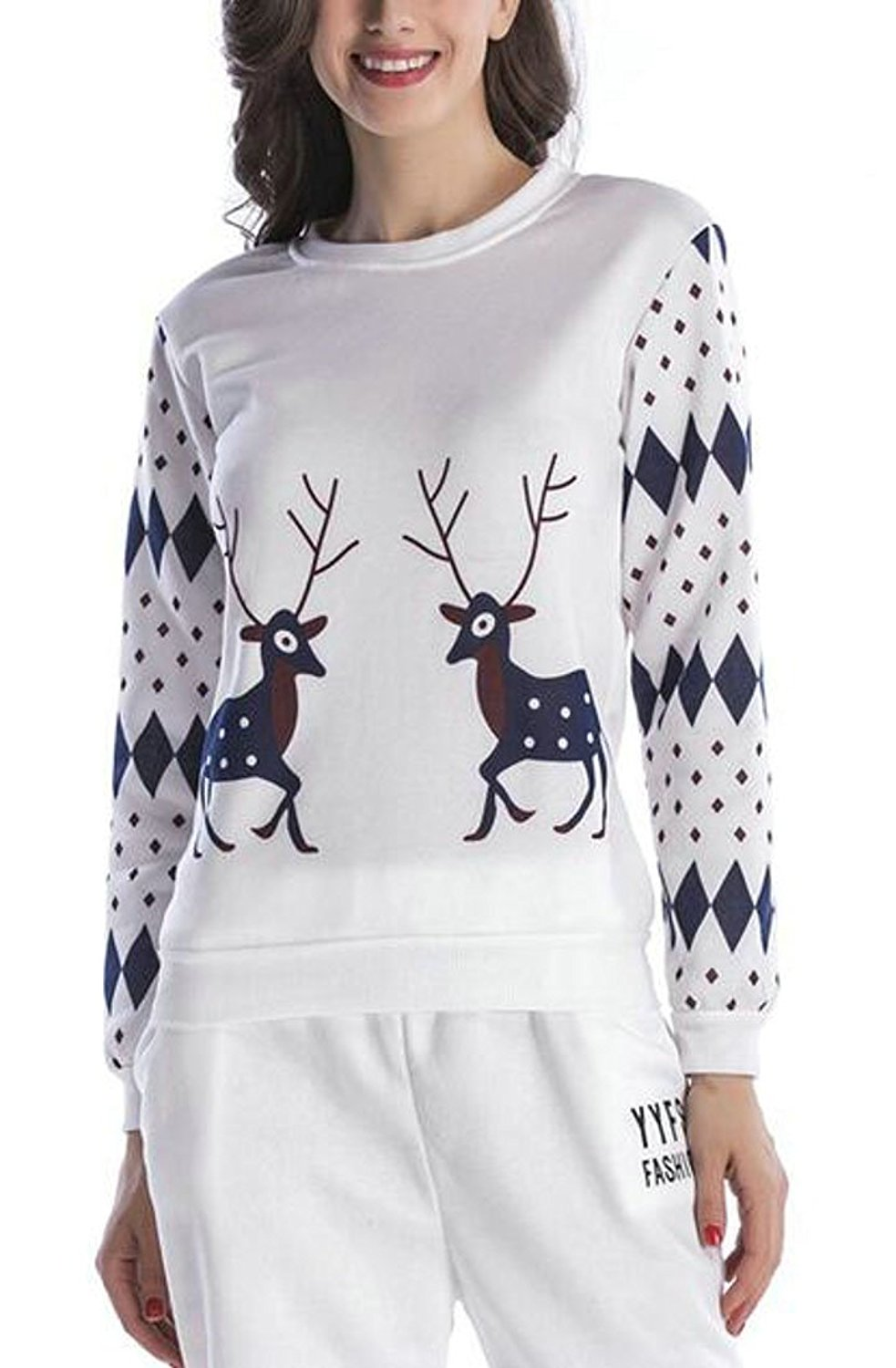 ONTBYB Womens Casual Christmas Elk Print Round Neck Long Sleeve Pullover Sweatshirt