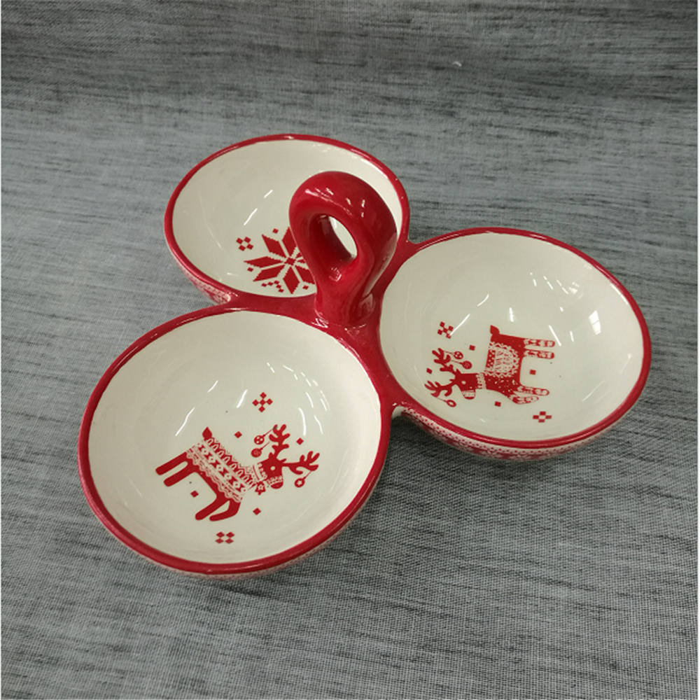3 Sections Ceramic Snack Serving Plate with Handle