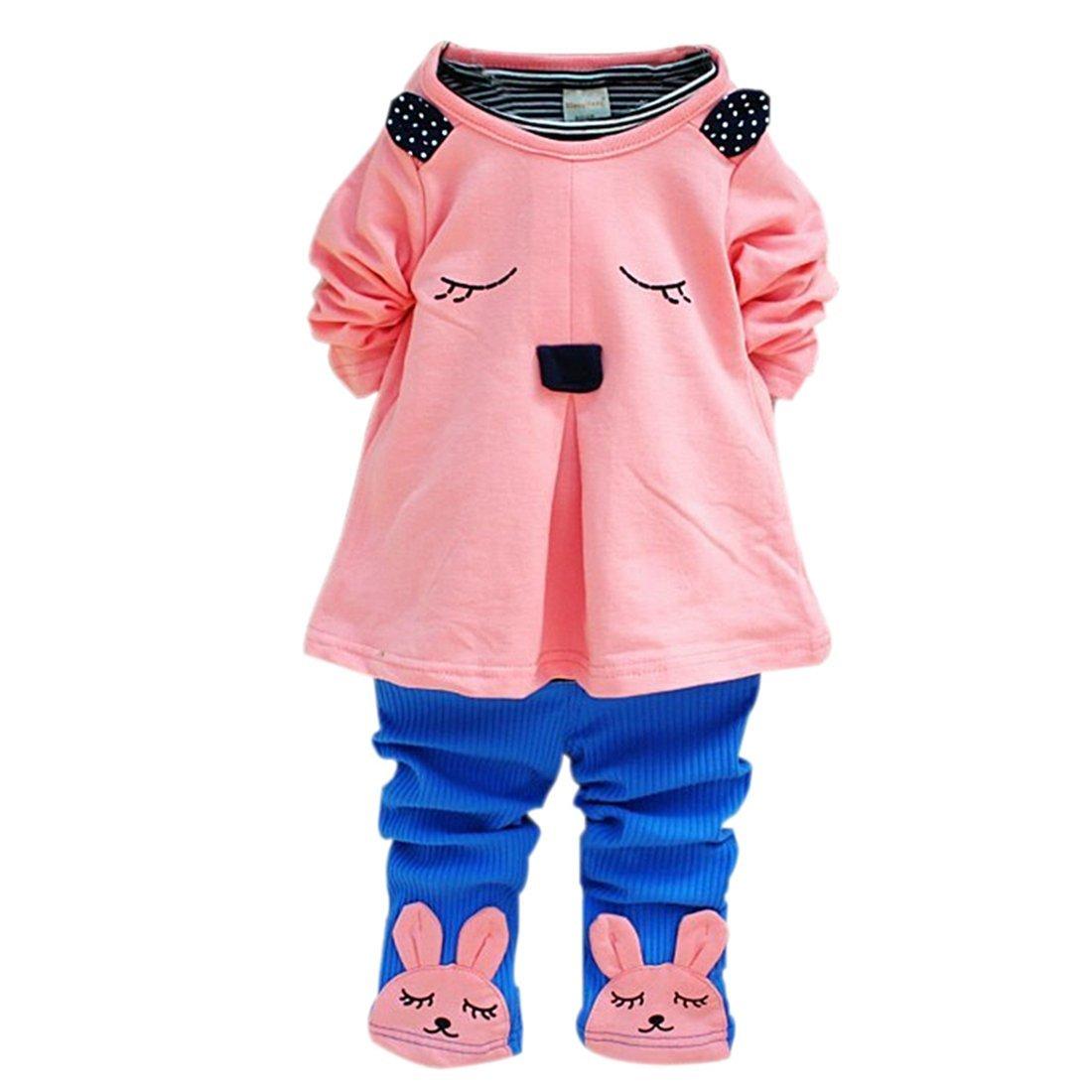 Bunny Rabbit Suit - SODIAL(R)Baby Girls Kid Princess Bunny Rabbit Suit T-Shirt Clothes Pants Outfit 2PC Set Pink 6-12m