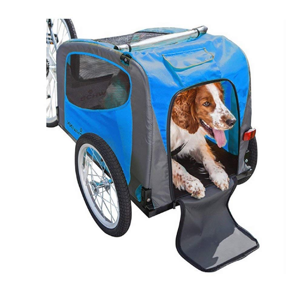SN Pet Trailer Stroller, Blue/Gray Color, Premium Quality, Steel Frame, Rubber Wheels, Foldable, Easy Transportation And Storage, Easy Cleaning, Safe And Comfortable & E-Book Home Decor