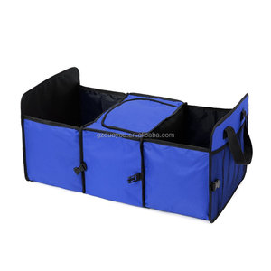 Oxford Fabric Vehicle-mounted Containing Box, 3-Compartment Collapsible Car Trunk Organizer, Auto Storage Packing Carton