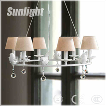 modern crystal fabric lamp shade loft bird Droplight industrial Chandelier pendant light for home