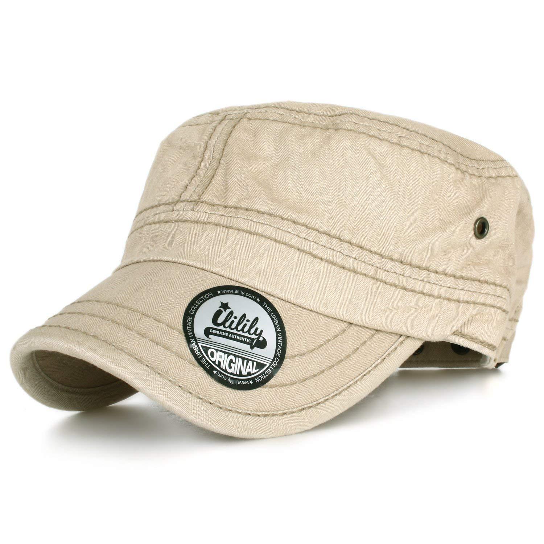 c44719234de Get Quotations · ililily Casual Plain Solid Color Washed Cotton Military  Cadet Flat Top Army Cap
