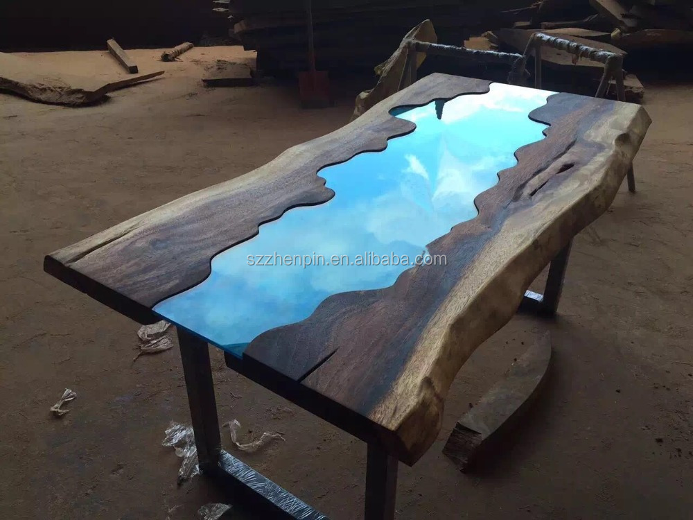 Live Edge Glass inlay Solid Wood Slab Dining Table Glass inlay Furniture. Live Edge Glass Inlay Solid Wood Slab Dining Table Glass Inlay