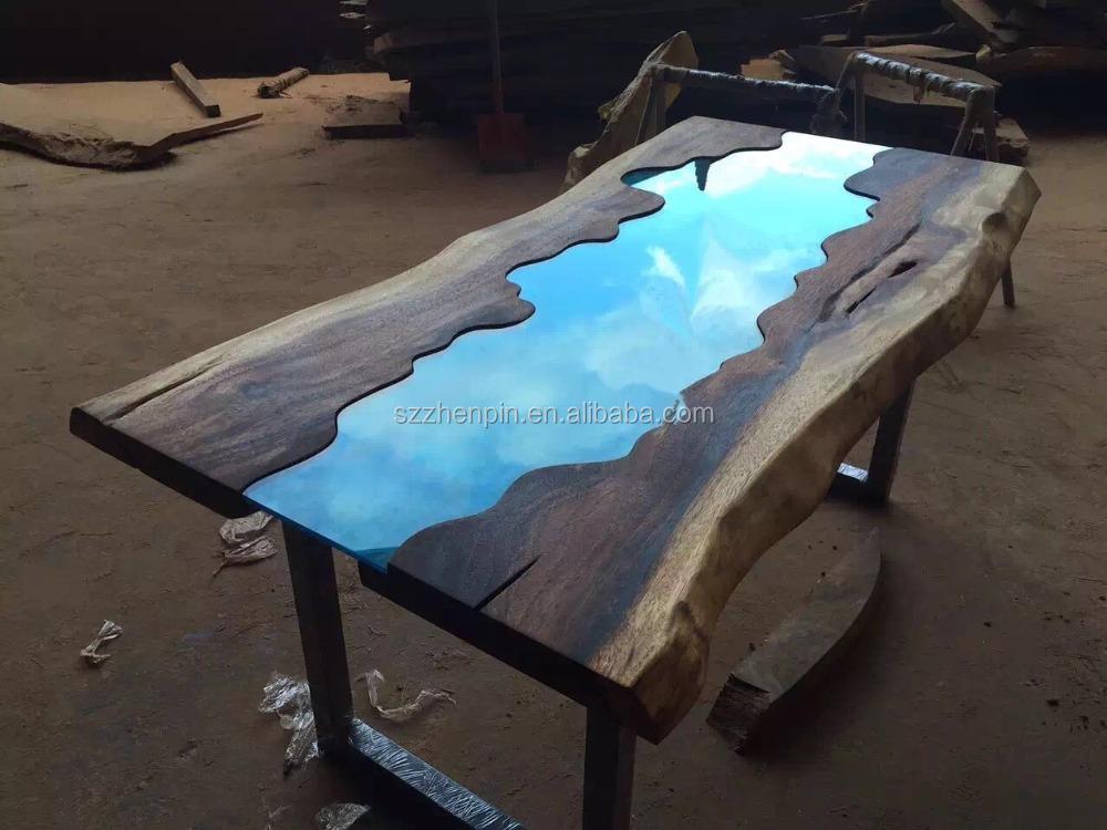 라이브 에지 유리 상감 단단한 나무 판 식사 테이블 유리 상감 ...