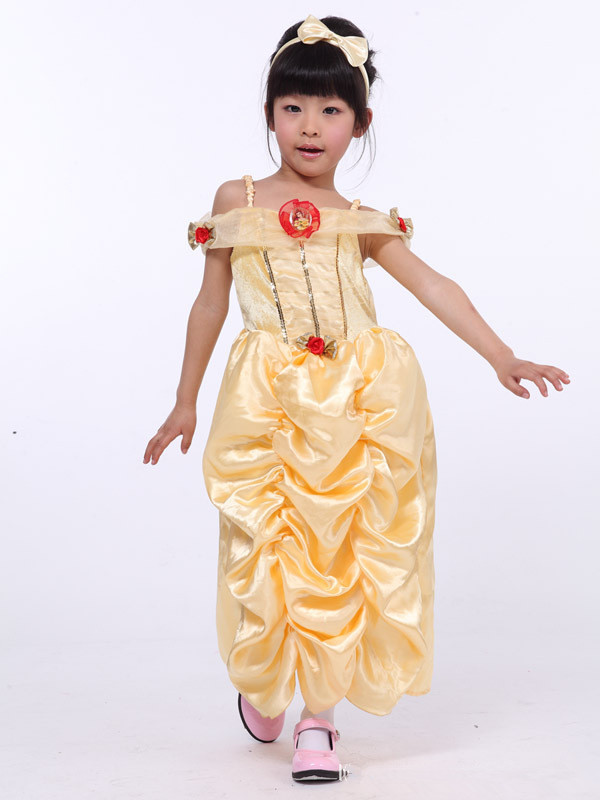 ce8cda95964 Get Quotations · Free shipping childrens girls luxury golden glitter slash  collar medieval dress belle princess costume dress gown