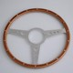 330mm Classic Riveted 9 bolt Flat Wooden Steering Wheel for Old Timer Cars