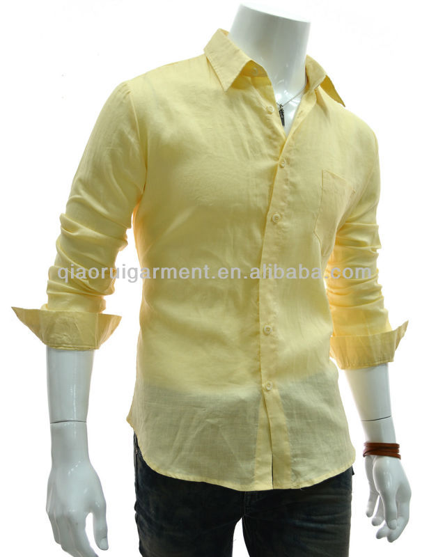 Igh Quality Men's Yellow Slim Fit Long Sleeve Linen Shirt - Buy ...