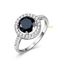 SADR0012 New Arrival sterling silver black onyx dainty rings jewellery 22k gold cubic zirconia eternity band ring jewelry