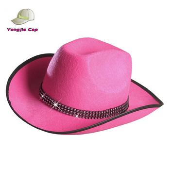 975625080d6a0 Chapéu De Vaqueiro Cor-de-rosa Da Menina Por Atacado Com Decoração ...