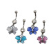Newest promotional surgical steel hanging jeweled butterflies belly button ring